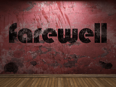 farewell: farewell word on red wall Stock Photo