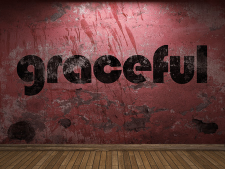 graceful: graceful word on red wall