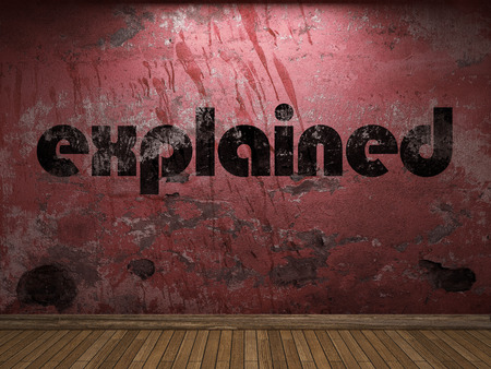 explained: explained word on red wall Stock Photo