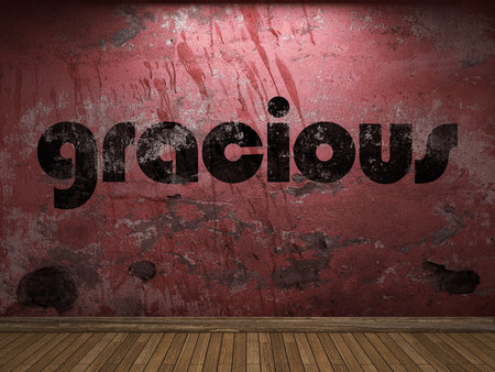 gracious: gracious word on red wall Stock Photo