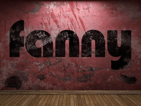 fanny: fanny word on red wall Stock Photo