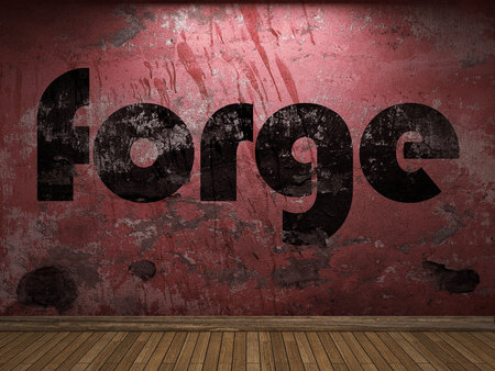 forge: forge word on red wall