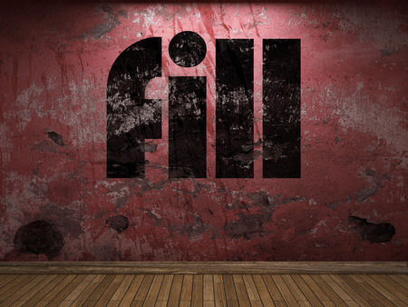 fill: fill word on red wall