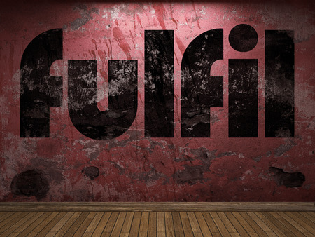 fulfil: fulfil word on red wall