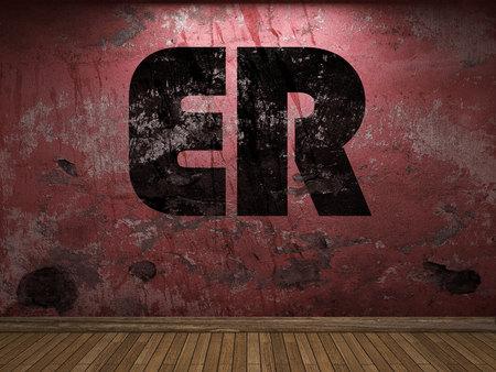 er: ER word on red wall