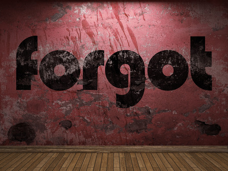 forgot: forgot word on red wall Stock Photo