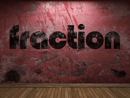 fraction: fraction word on red wall