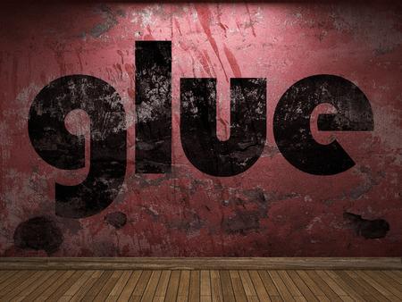 pegamento: palabra de pegamento en la pared roja