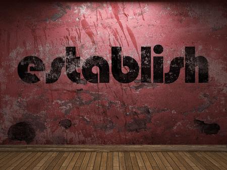 establish: establish word on red wall