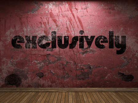 exclusively: exclusively word on red wall