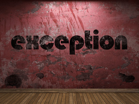 exception: exception word on red wall Stock Photo