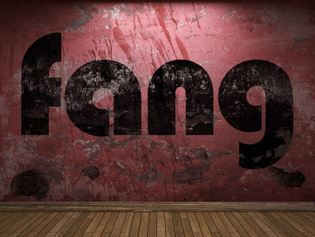 fang: fang word on red wall Stock Photo
