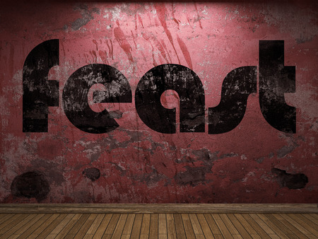 feast: feast word on red wall