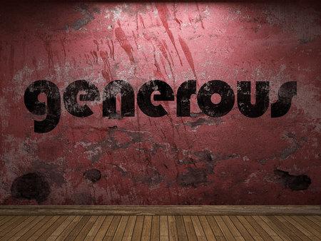 generous: generosa palabra en la pared roja