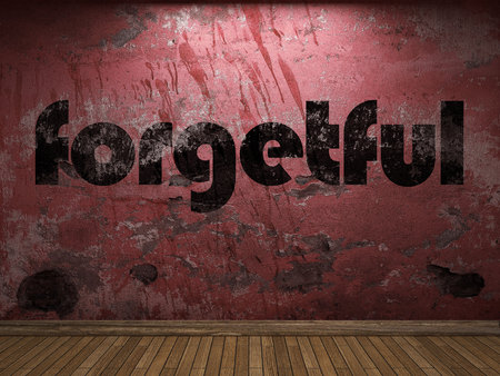 forgetful: forgetful word on red wall Stock Photo