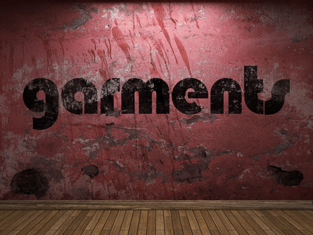 garments: garments word on red wall