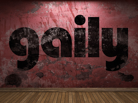 gaily: gaily word on red wall