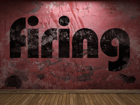 firing: firing word on red wall
