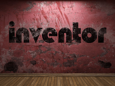 inventor: inventor word on red wall