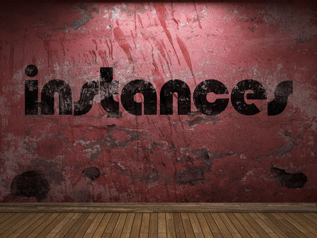 instances: instances word on red wall Stock Photo