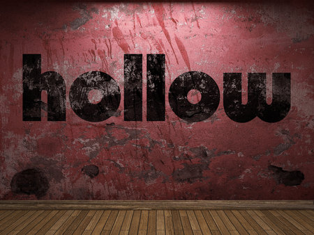 hollow wall: hollow word on red wall