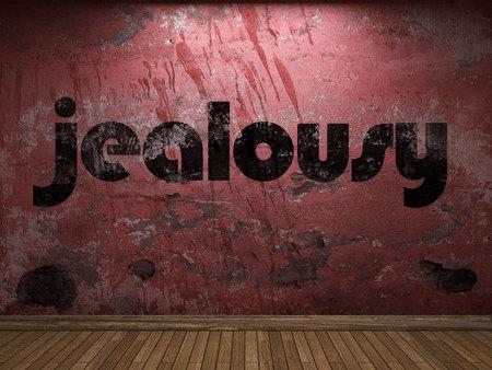 celos: palabra celos en la pared roja