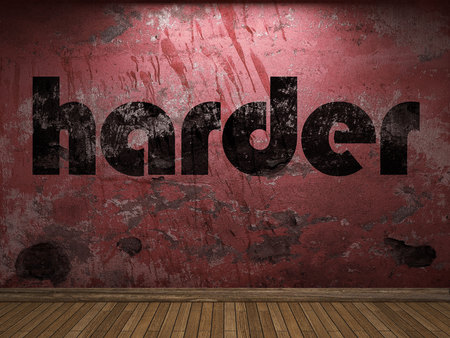 harder: harder word on red wall