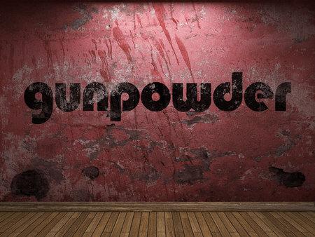 gunpowder: gunpowder word on red wall Stock Photo