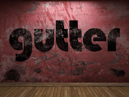gutter: gutter word on red wall