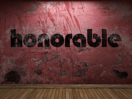 honorable: honorable word on red wall