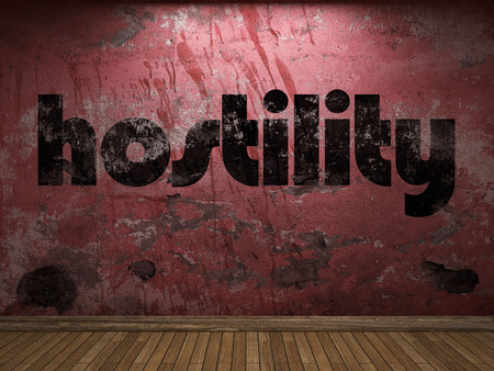 hostility: hostility word on red wall