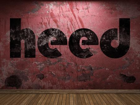 heed: heed word on red wall