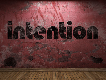 intention: intention word on red wall Stock Photo