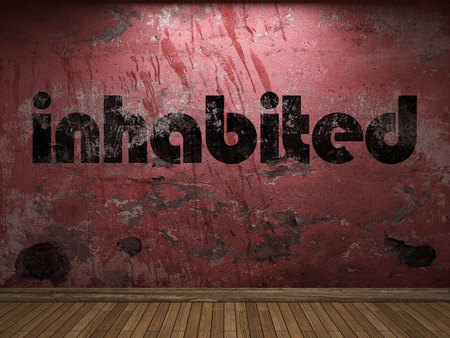 inhabited: inhabited word on red wall