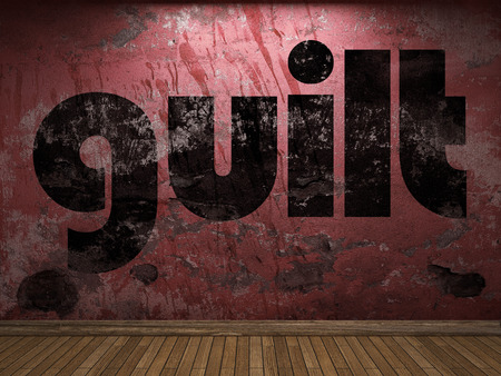 guilt: guilt word on red wall Stock Photo