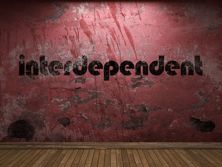 interdependent: interdependent word on red wall