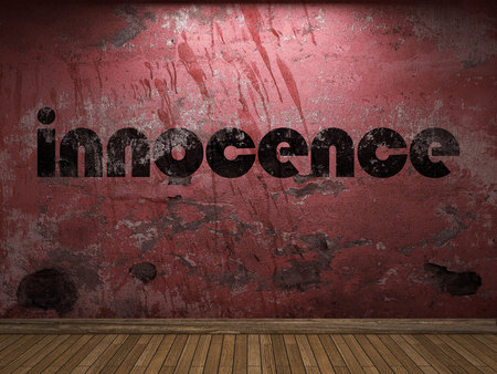 the innocence: innocence word on red wall