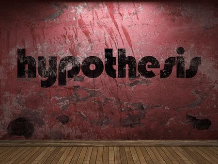 hipotesis: palabra hipótesis en la pared roja