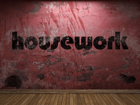 housework: housework word on red wall