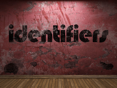 identifiers: identifiers word on red wall Stock Photo