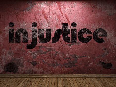 injustice: injustice word on red wall Stock Photo