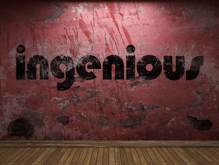 ingenious: ingenious word on red wall Stock Photo