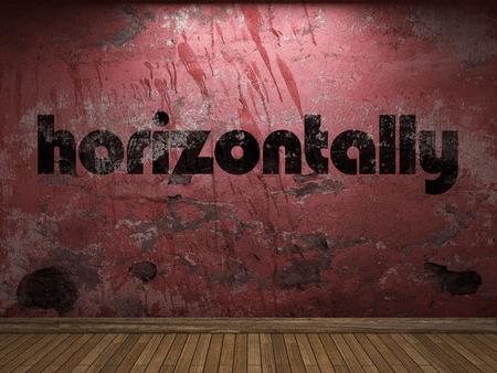 horizontally: horizontally word on red wall
