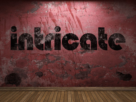intricate: intricate word on red wall