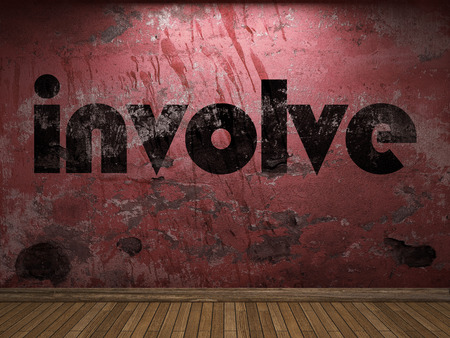 involve: involve word on red wall