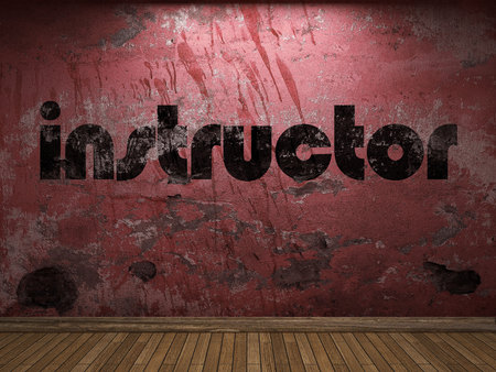 instructor word on red wall