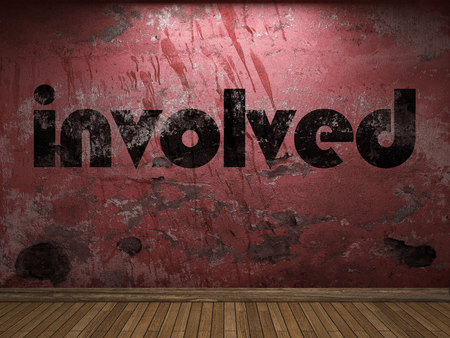 involved: involved word on red wall