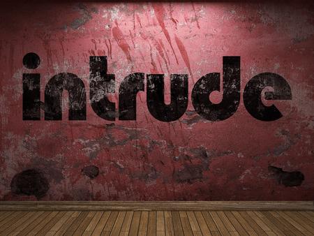 intrude: intrude word on red wall