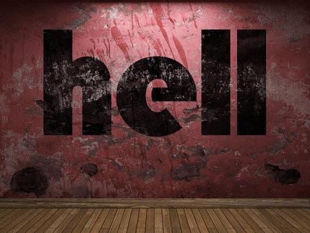 to hell: palabra infierno en la pared roja Foto de archivo