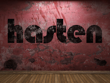 to hasten: hasten word on red wall Stock Photo